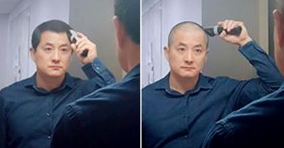 패스트트랙 강행에 항의해 박대출 자유한국당 의원이 삭발했다. [사진 박대출 한국당 의원 페이스북]