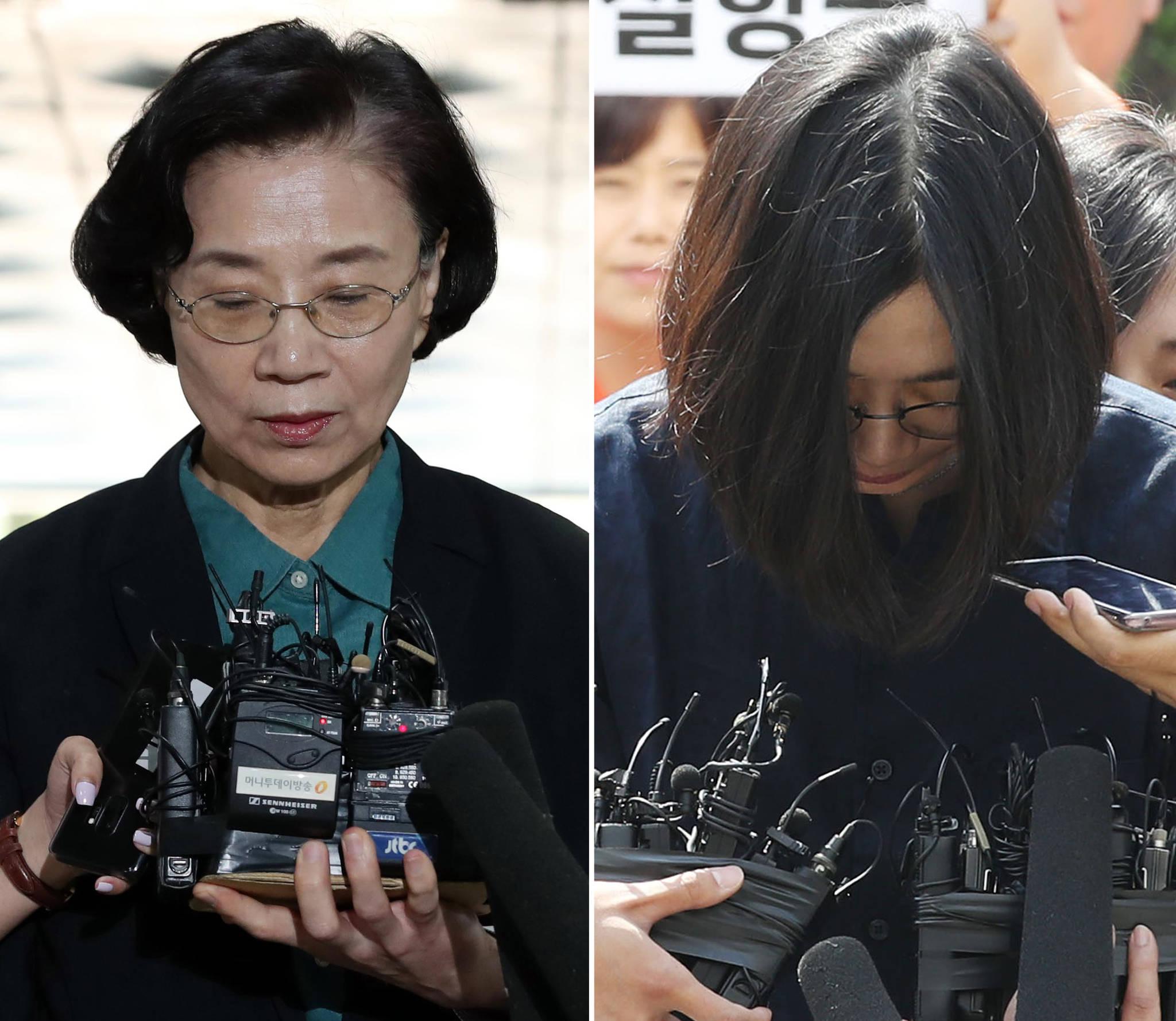 이명희(69) 전 일우재단 이사장(왼쪽)과 첫째 딸 조현아 전 대한항공 부사장. [연합뉴스]