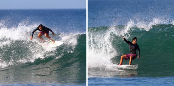 양진성 대표가 서핑을 즐기는 모습. 보드에 올라 파도를 타면 공중부양하는 느낌이 들면서 해방감이 든다고 한다. [사진 양진성]
