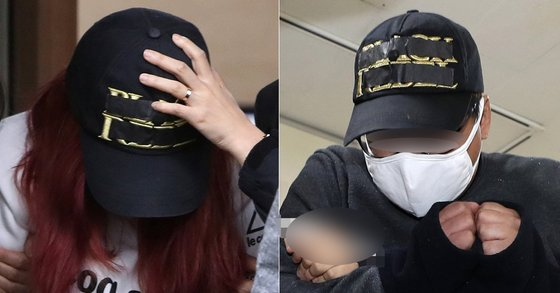 딸(13)을 살해한 혐의로 붙잡힌 친모 유모(39·왼쪽)씨와 계부 김모(31)씨. [연합뉴스]