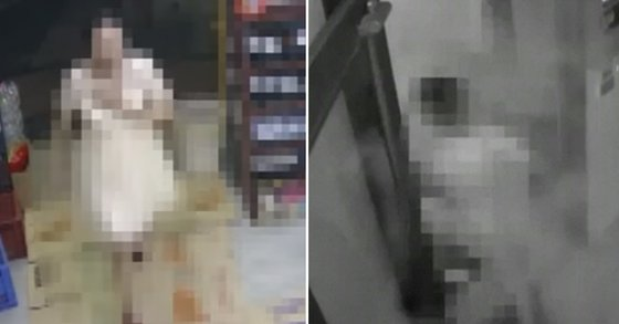 부산에서 지난달 27일 발생한 '알몸 여성 소화기 난동' 사건. 한 여성이 상가건물에 들어가는 모습(왼쪽)과 알몸 상태로 소화기를 뿌리는 모습. [사진 SBS뉴스 캡처]