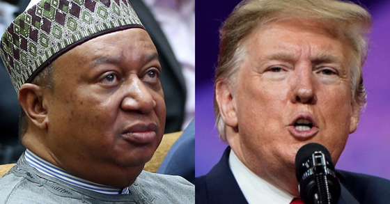 모하메드 바르킨도 OPEC 사무총장(왼쪽)과 트럼프 대통령. [EPA=연합뉴스]