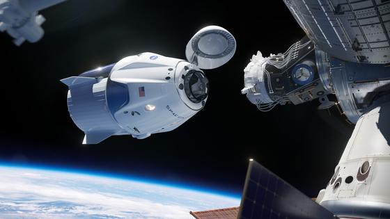 지난 3월 2일 크루 드래곤은 마네킹인 '리플리'를 태우고 ISS에 성공적으로 도킹했다. [UPI=연합뉴스]