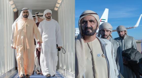 두 사진 모두 왼쪽이 함단의 아버지 무함마드 빈 라시드다. 두바이집행위원회 위원장이기도 한 함단은 각종 행사에서 군주를 보좌한다. [함단 인스타그램 캡처]