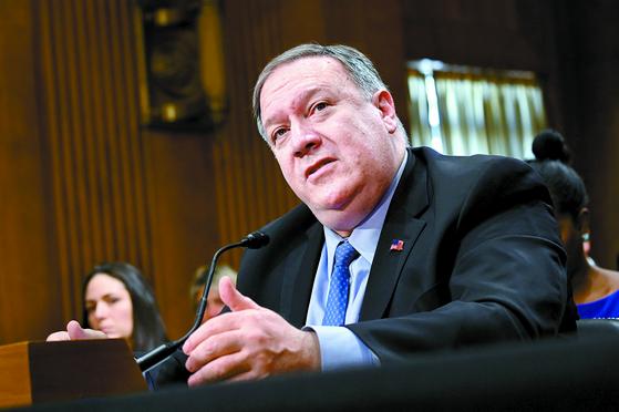 """마이크 폼페이오 미국 국무부 장관이 5일 """"제재 하에서도 북한은 식량을 구입할 수 있다""""고 말했다. [로이터=연합뉴스]"""