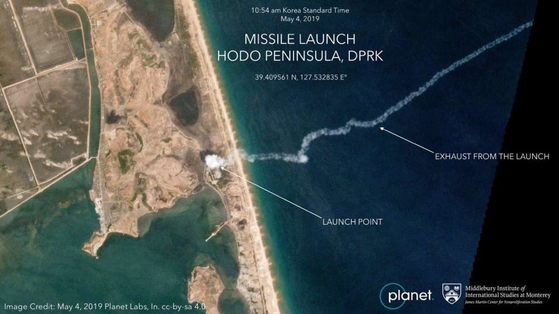 북한 미사일 발사 직후 촬영된 미 민간 위성 서비스업체 플래닛 랩스의 호도반도 위성 사진