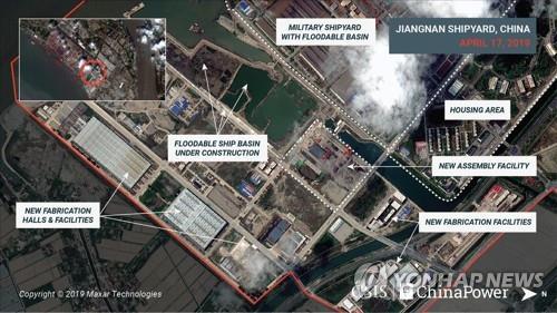 중국이 3번째 항공모함을 건조하는 것으로 추정되는 위성사진. 로이터=연합뉴스