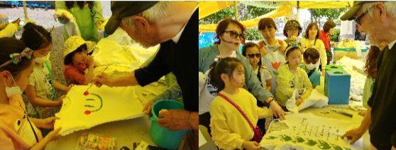 윤호섭 교수가 어린이들에게 티셔츠에 그림을 그려주고 있다. 김정연 기자
