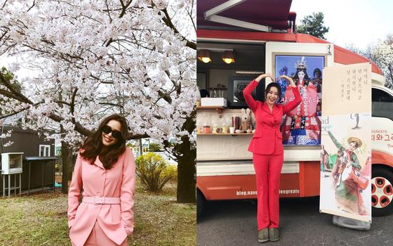 최근 종영한 드라마 '열혈사제'에서 미모의 검사 역을 소화한 이하늬 역시 핑크 슈트를 즐겨 입었다. 사진은 자신의 인스타그램에 올린 사진들. [사진 이하늬 인스타그램]