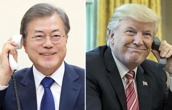문재인 대통령은 7일 오후 35분간 도널드 트럼프 미국 대통령과 통화하면서 북한이 지난 4일 쏘아올린 발사체 관련 정보를 공유하고 이후 한반도 비핵화 방안에 대해 논의했다. [청와대 제공]