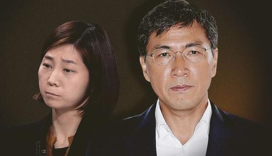 김지은씨와 안희정 전 충남지사. [뉴스1]