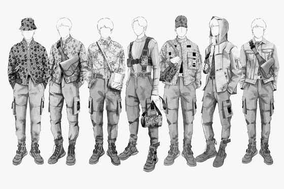 디올 남성복의 아티스틱 디자이너 킴 존스가 자신이 디자인한 방탄소년단의 투어 패션 스케치를 인스타그램에 올렸다. [사진 킴존스 인스타그램@mrkimjones]
