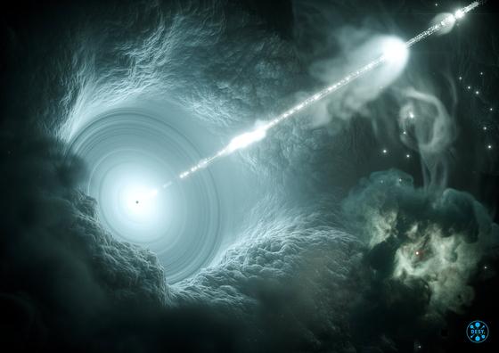 우주먼지가 빛에 의해 쪼개질 수 있다는 연구결과가 최초로 나왔다. 한국천문연구원 티엠 황 박사 연구진에 의해서다. 빛 에너지에 의ㅐ 우주먼지가 회전하다가 끝내 찢어진다는 것이 핵심이다. 사진은 블랙홀로 빨려들어가는 빛의 모습. [로이터=연합뉴스]