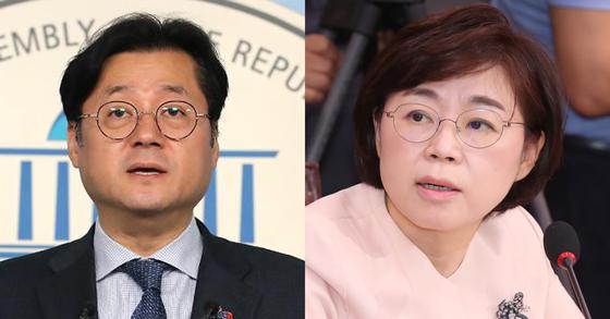 홍익표 더불어민주당 원내대변인(왼쪽)과 김정재 자유한국당 원내대변인 [연합뉴스], 임현동 기자