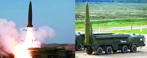 북한이 4일 발사한 단거리 발사체(왼쪽)와 러시아 이스칸데르 이동식 단거리 탄도미사일.
