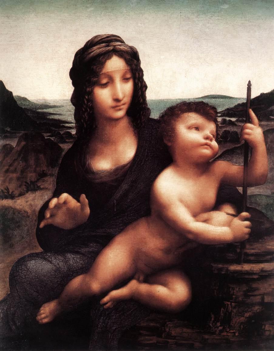 레오나르도 다빈치의 막대기를 든 성모