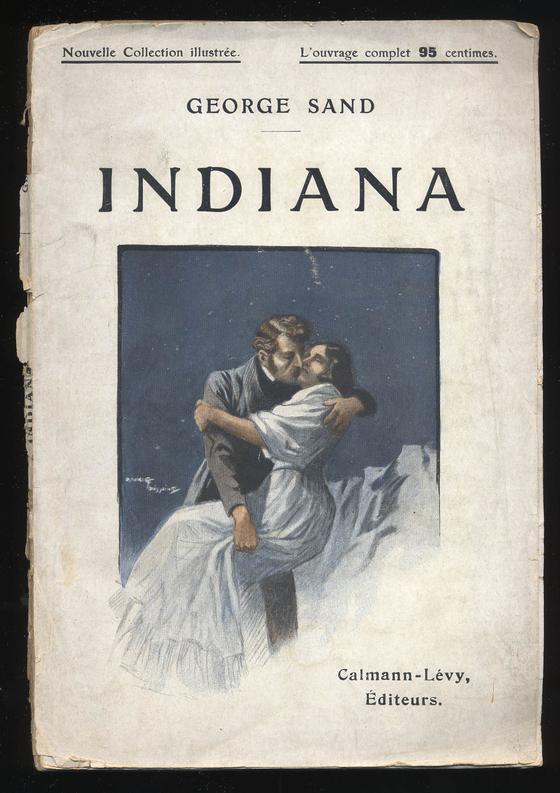 앵디아나의 표지. 조르주 상드의 이름으로 출간된 첫 소설. 모리스 투쌩의 일러스트레이션은 자극적이었다. [그림 Wikimedia Commons (Public Domain)]