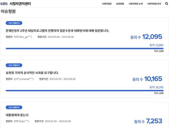 KBS 시청자권익센터 이슈청원 게시판에 올라온 송현정 기자 비판 청원들. [홈페이지 캡처]