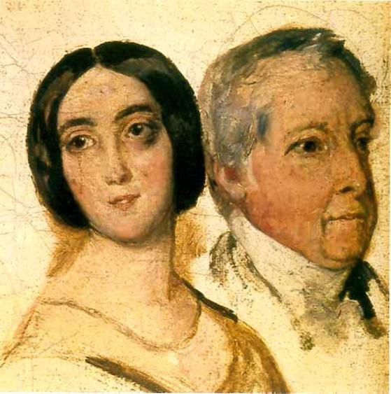 조르주 상드와 남편 카지미르 뒤드방 남작. Francois-Auguste Biard 그림. 1823. Musee George Sand et de la Vallee Noire au chateau de La Chatre 소장. [그림 Wikimedia Commons (Public Domain)]