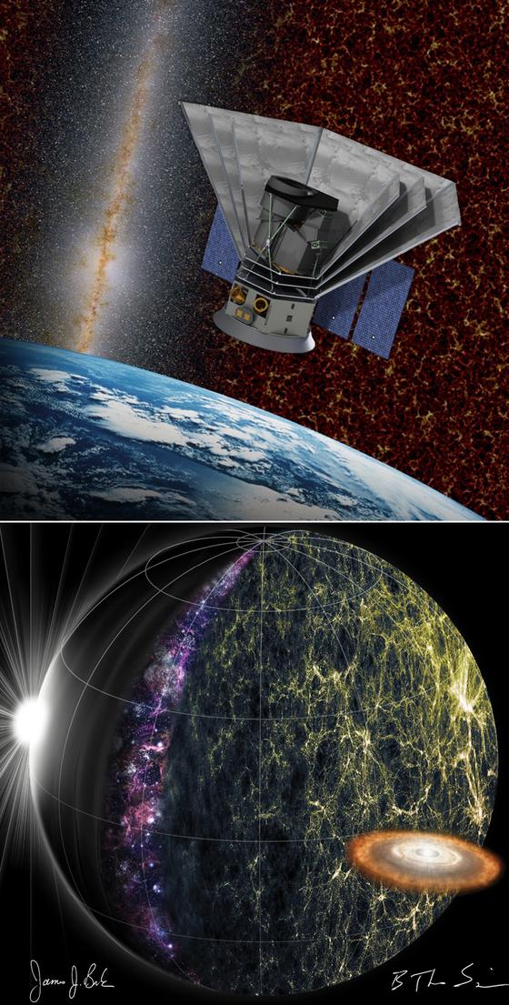 한국천문연구원이 NASA와 공동 개발하기로 한 전천 적외선 영상·분광기 '스피어엑스' 상상도(위쪽)와 예상 적외선 영상. [연합뉴스]