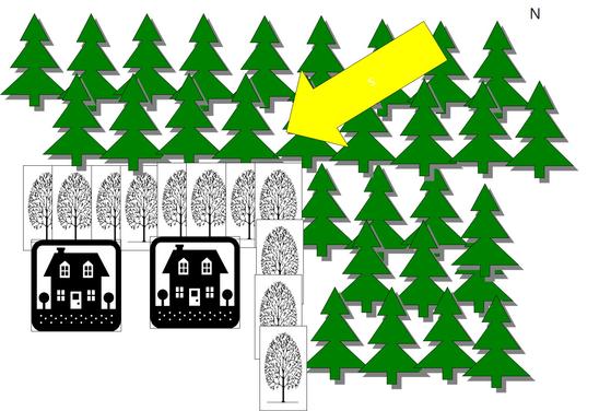 소나무림 인근의 주택 피해를 예방하기 위한 활엽수 식재 개념. [사진 강원연구원]