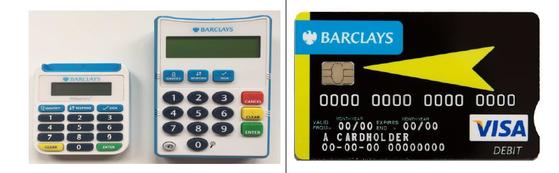 바클레이즈는 시력이 나쁜 노인을 위해 기존보다 숫자를 키운 카드 리더기(오른쪽), 앞뒤 구분을 한 신용카드를 선보였다. [사진 국제금융센터]