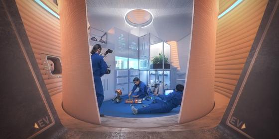 3D 프린터로 거주지를 완성하면 그 안에 기타 소재로 만든 모듈을 설치해 이중으로 우주 방사선을 막아내는 방법도 고려되고 있다. 심사를 맡은 NASA 등은 마샤의 내부에 연기를 투입해, 이것이 새어나오지 않는다는 것을 보고 평가를 진행했다. [사진 AI스페이스팩토리]
