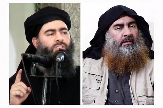 5년 만에 건재를 과시한 이슬람국가(IS)의 수괴 아부 바크르 알 바그다디의 2014년 모습(왼쪽)과 이번에 공개된 영상 속 모습. [AP=연합뉴스]