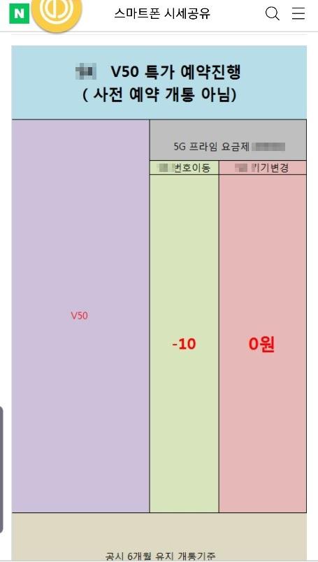 지난 10일 한 휴대폰 정보 사이트에 LG V50 씽큐를 10만원을 받고 구입할 수 있다는 글이 올라와 있다. [인터넷 캡처]