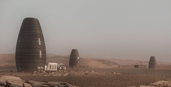미국의 디자인 업체 AI 스페이스팩토리가 달과 화성에 짓고자 하는 우주인 거주지 '마샤'의 조감도. 이번 미국항공우주국이 주최하는 3D 우주 거주지 프린팅 대회에서는 실제 크기의 3분의 1인 높이 4.7m 크기의 마샤가 완성됐다. 완성에는 총 30시간이 소요됐다. [사진 AI스페이스팩토리]