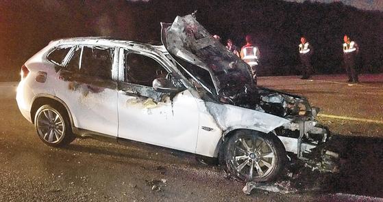 불에 탄 BMW 차량. [연합뉴스]