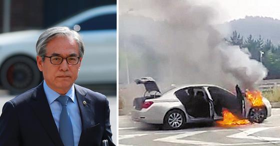 김효준 BMW코리아 회장(왼쪽). 오른쪽 사진은 지난해 8월 화재가 발생한 BMW 차량 [연합뉴스ㆍ경남지방경찰청]