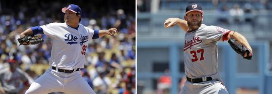 13일 맞대결을 펼친 다저스 류현진(왼쪽)과 워싱턴 스티븐 스트라스버그 [AP=연합뉴스]