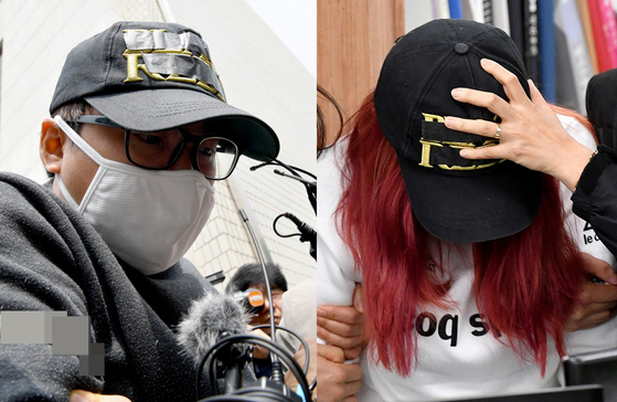 중학생 의붓딸을 살해한 혐의로 구속된 김모(31·왼쪽)씨와 김씨 범행을 도운 혐의로 불구속 입건된 친모 유모(39)씨. [뉴시스]