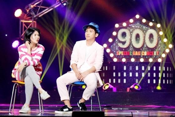 '개그콘서트' 900회 특집에 출연한 개그맨 유세윤(오른쪽)과 강유미 [사진 KBS]