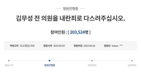 '청와대 다이너마이트 폭파' 발언을 한 김무성 자유한국당 의원을 내란죄로 처벌해야 한다는 청와대 국민청원 동의자가 13일 오후 20만명을 넘었다. [청와대 홈페이지 캡처]