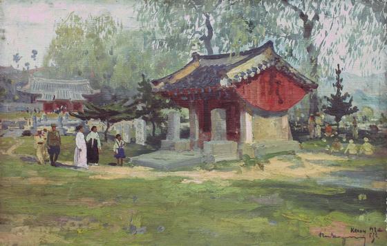 변월룡, '개성 선죽교''(1953).; [사진 학고재갤러리]
