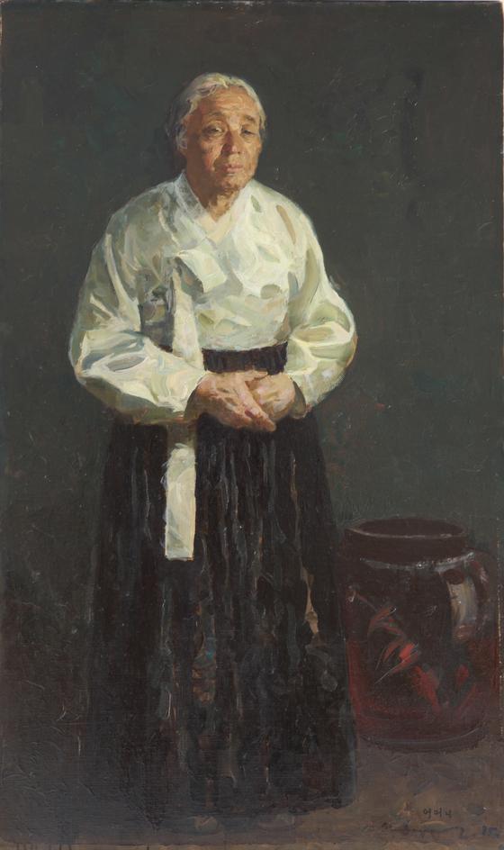 1985년 변월룡이 그린 어머니 초상화. 어머니는 1945년에 돌아가셨다. [사진 학고재갤러리]