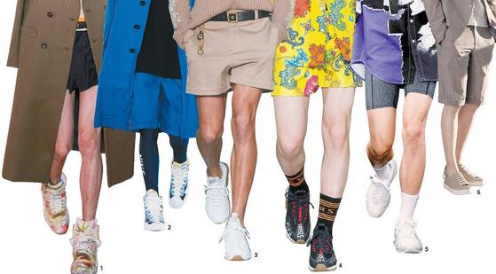 2019 봄·여름 패션쇼 무대에 남성 반바지, 마이 크로 쇼츠 스타일을 선보인 1 메종 마르지엘라 2 사카이 3,4,8 베르사체 5 알렉산더 왕 6 브루노바피. [사진 각 업체]