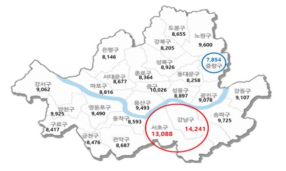 서울 지역 학원의 초등생 영어 시간당 수강료. [사진 한국소비자단체협의회]