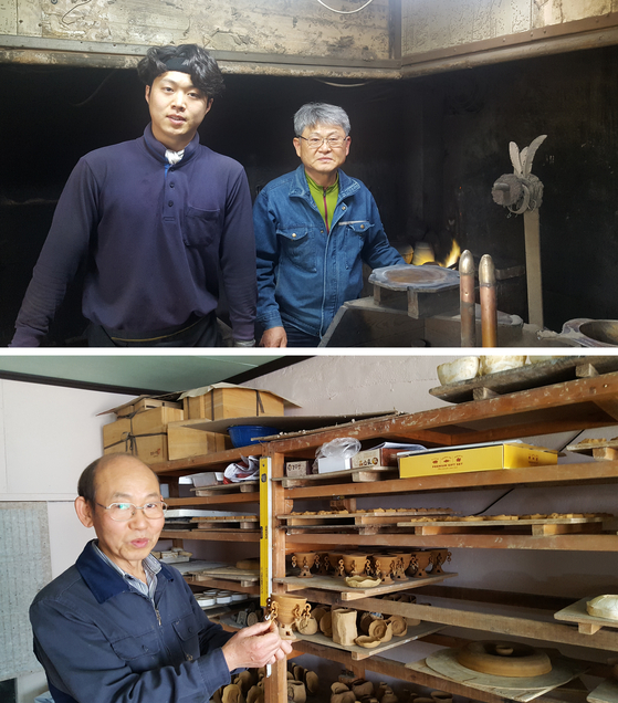 경주유기공방 김완수(66) 장인이 기술을 전수받고 있는 막내아들 김덕우(30)와 함께 했다(위). 40여 년간 신라토기를 재현해 온 류진용(63) 장인이 동방북길 공방에서 토기 제작 과정을 설명하고 있다(아래). 류 장인은 아들 류국현(42)에게 기술을 전수하고 있다. [사진 송의호]