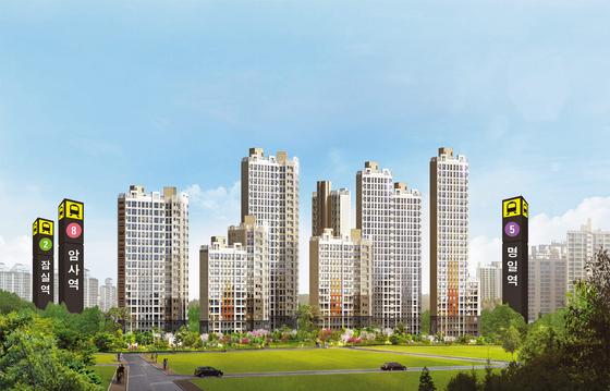 이른바 '강남4구' 중 막내로 불리는 서울 강동구에 가격이 주변 시세보다 파격적으로 싸고 개발호재가 있는 아파트가 나와 눈길을 끈다. 더블역세권 단지인 암사 한강이다. 이미지는 암사 한강 투시도.