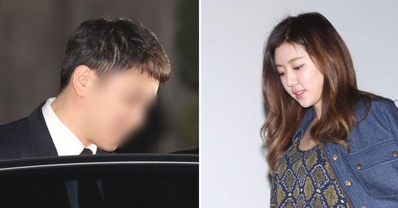유인석 유리홀딩스 전 대표(왼쪽)와 유 대표의 부인인 배우 박한별. [뉴시스ㆍ중앙포토]