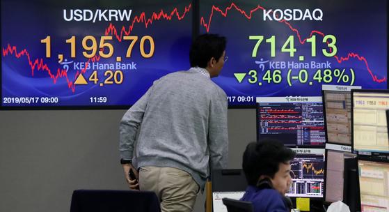 17일 서울 중구 KEB하나은행 본점 딜링룸에서 딜러들이 업무를 보고 있다. 이날 원화가치는 2년4개월만에 최저치를 기록했다. [뉴시스]