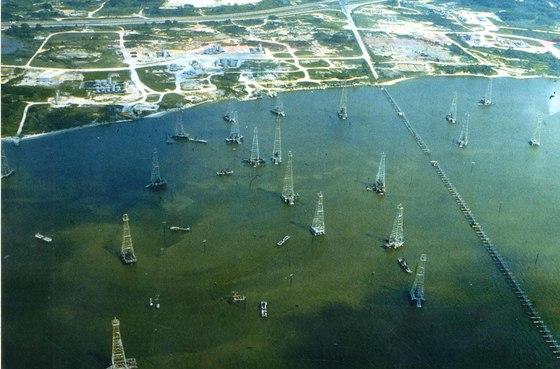 미국 텍사스주 미시시피강 하구부터 리오그란데강 하구 사이의 멕시코만 유전 지대.[중앙포토]