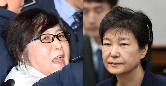 최순실씨(왼쪽)과 박근혜 전 대통령. [중앙포토, 뉴스1]