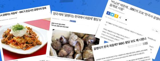 '한국에서 골뱅이는 최음제'라는 내용의 BBC 기사를 본 국내 언론들이 쓴 관련 기사들. [각 사 웹사이트 캡처]