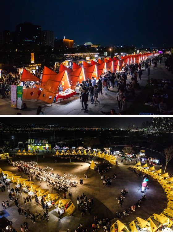 봄부터 가을 주말 밤 여의도(위), 반포(아래) 한강공원 등에 열리는 '밤도깨비야시장'. [사진 컬처웨이]