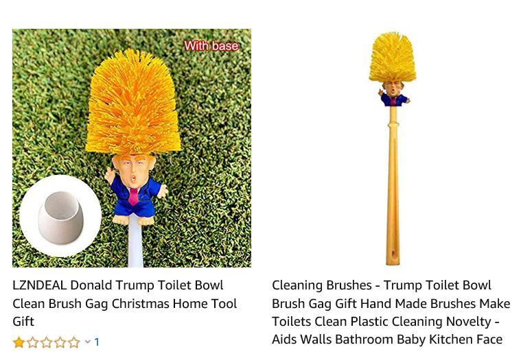 미국 온라인 쇼핑몰에서 판매되고 있는 트럼프 대통령 화장실 청소 솔. [온라인 쇼핑몰 캡쳐]