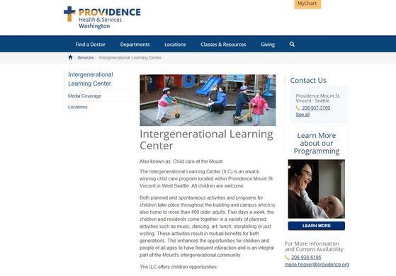 마운트 유치원의 요양원 방문 프로그램이 소개된 Providence Health & Services 홈페이지. [사진 Providence 홈페이지 캡처]